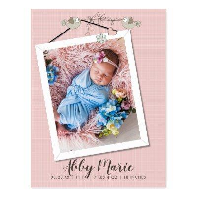 Pretty In Pink Frame Photo Birth Announcement Postcard