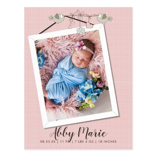 Pretty In Pink Frame Photo Birth Announcement Postcard