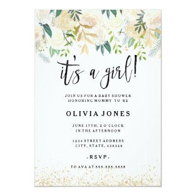 Pretty Its a Girl Floral Baby Shower Invitation