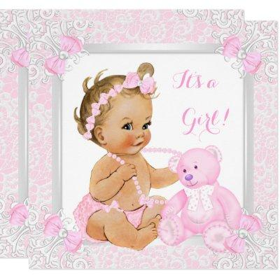 Pretty Pink Baby Shower Girl Lace Bear Blonde Baby Invitation