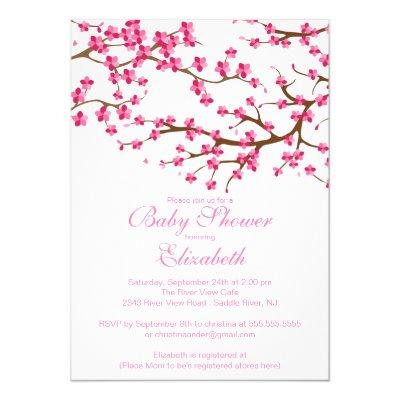 Pretty Pink Cherry Blossom Floral Baby Shower Invitation