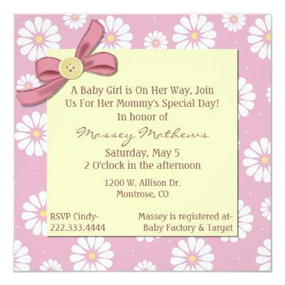 Pretty Pink Daisies Baby Girl Shower Invitations