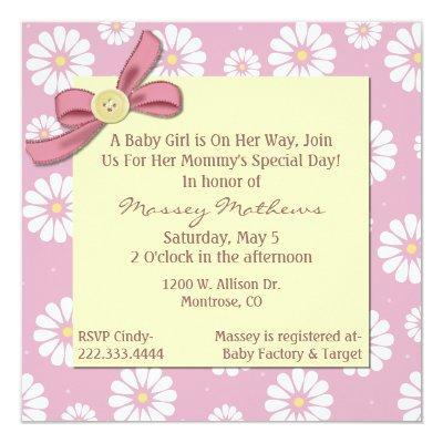 Pretty Pink Daisies Baby Girl Shower Invitation