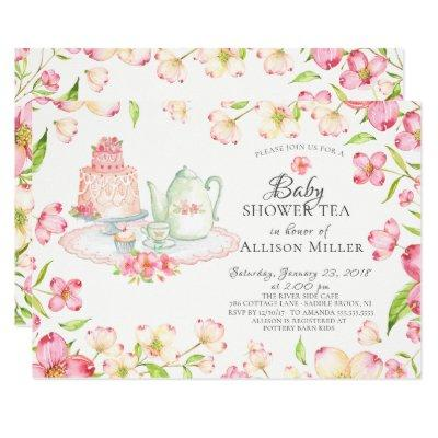 Pretty Pink Floral Baby Tea Party Invitations