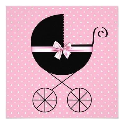 Pretty Pink Polka Dot Baby Shower Invitation