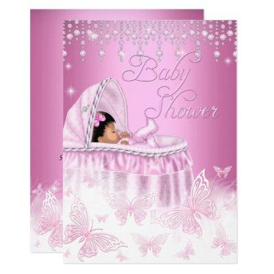 Pretty Pink Sparkle Butterfly Baby Shower Ethnic Invitations