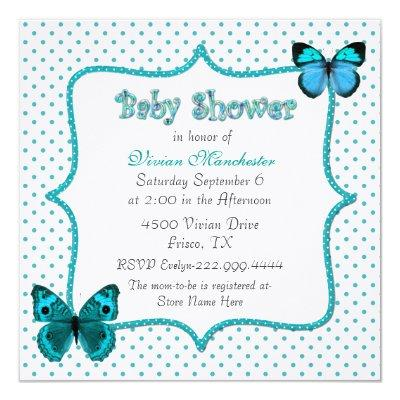 Pretty Polka Dots and Butterflies Baby Shower Invitation