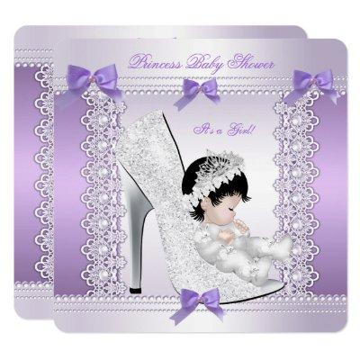 Pretty Princess Baby Shower Cute Girl in Shoe 3 Invitations