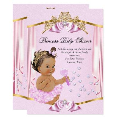 Pretty Princess Baby Shower Pink Gold Brunette Invitation