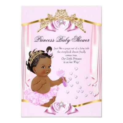 Pretty Princess Baby Shower Pink Gold Ethnic Invitations