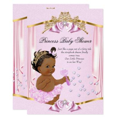 Pretty Princess Baby Shower Pink Gold Ethnic Invitation