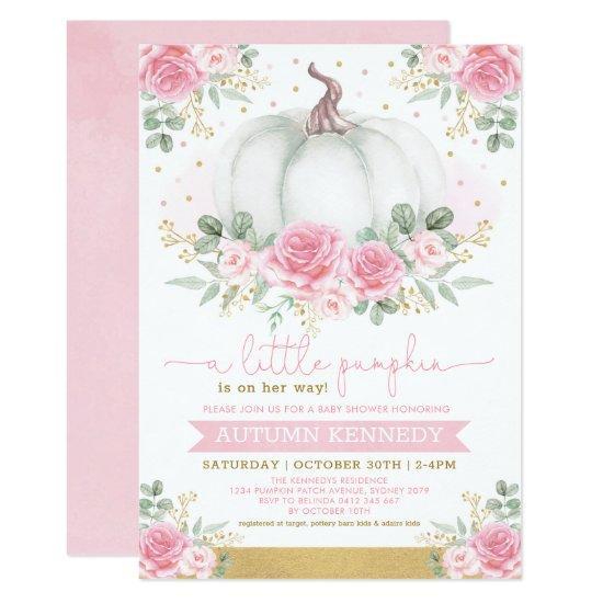 Pretty Pumpkin Watercolor Pink Floral Baby Shower Invitation