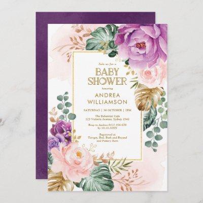 Pretty Purple Blush Tropical Boho Chic Baby Shower Invitation