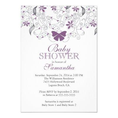Pretty Purple Butterfly Baby Girl Invitations