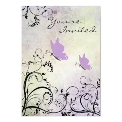 Pretty Purple Butterfly Baby Shower Invitation