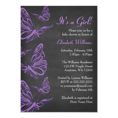 Pretty Purple Butterfly Chalkboard Invitations