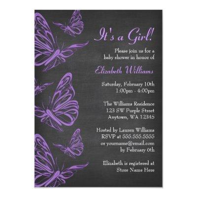 Pretty Purple Butterfly Chalkboard Baby Shower Invitation