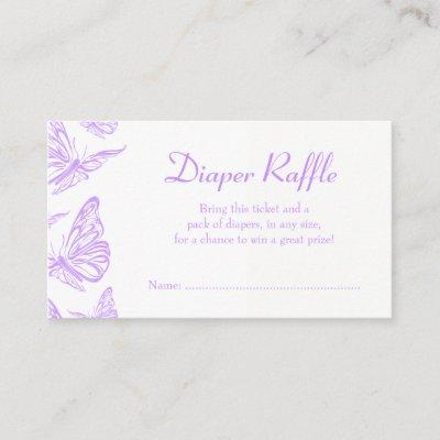 Pretty Purple Butterfly Diaper Raffle Ticket Enclosure Invitations