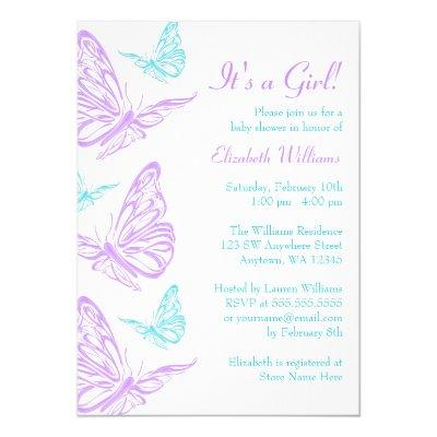 Pretty Purple Teal Butterfly Girl Baby Shower Invitations