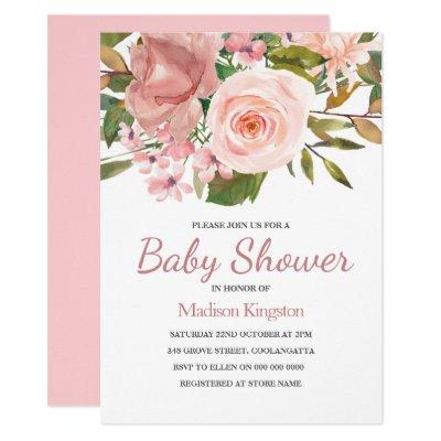 Pretty Rose Gold Pink Flowers Baby Shower Invitations