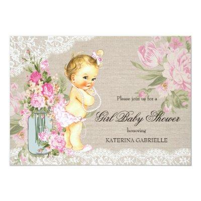 Pretty Shabby Lace Floral Girl Blonde Invitations