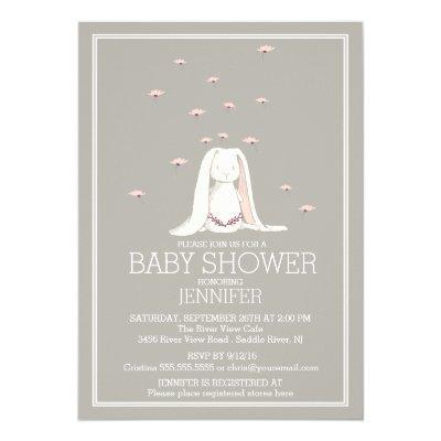 Pretty Spring Pink Girl Bunny Baby Shower Invitations