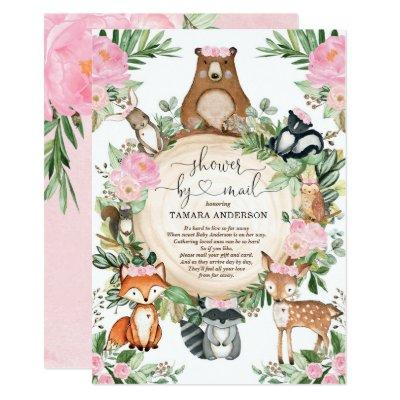 Pretty Woodland Animals Girl Shower By Mail Invitation