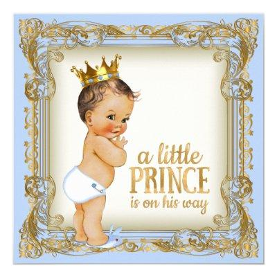 Prince Baby Shower Baby Blue Invitation