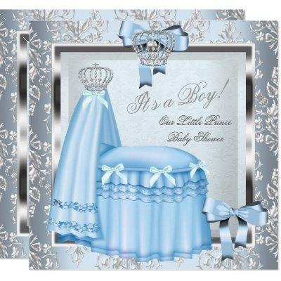 Prince Baby Shower Baby Boy Blue Damask Crown 4F Invitations