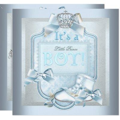 Prince Baby Shower Baby Boy Blue Damask Shoe Invitation