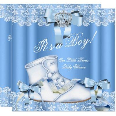 Prince Baby Shower Baby Boy Blue Lace Shoe 6a Invitations