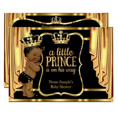 Prince Baby Shower Black Gold Drapes Ethnic Invitations