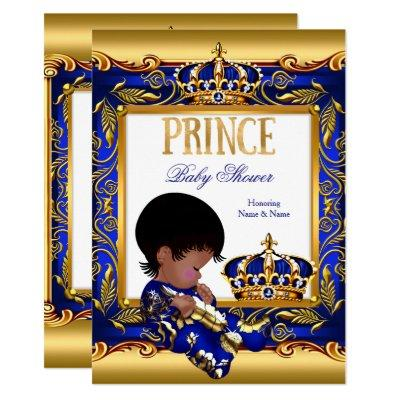 Prince Baby Shower Blue Gold African American Foil Invitation