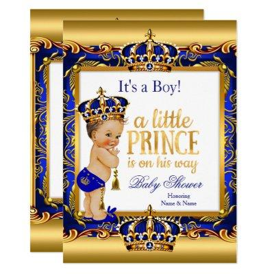 Prince Baby Shower Blue Ornate Gold Brunette Boy Invitations