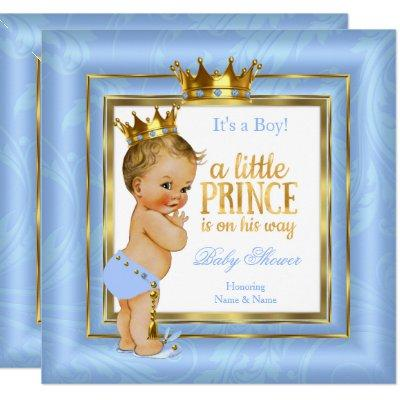 Prince Baby Shower Blue White Gold Crown Blonde Invitations