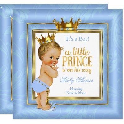 Prince Baby Shower Blue White Gold Crown Blonde Invitation