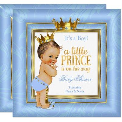 Prince Baby Shower Blue White Gold Crown Brunette Invitation