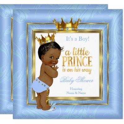 Prince Baby Shower Blue White Gold Crown Ethnic Invitations