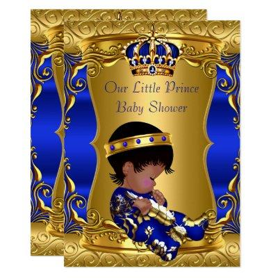 Prince Baby Shower Boy Blue Gold African American Invitation