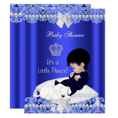 Prince Baby Shower Boy Blue Lace Puppy Invitations
