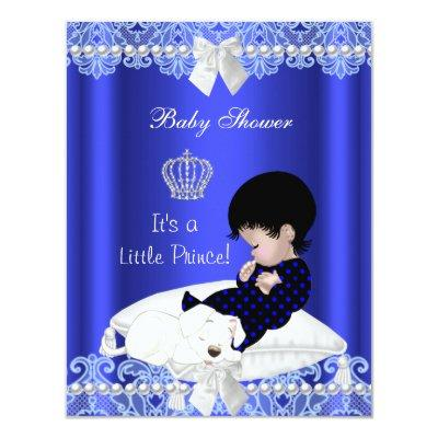 Prince Boy Blue Lace Puppy Invitations