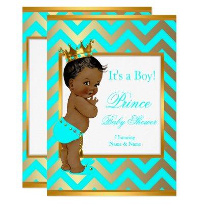 Prince Baby Shower Boy Gold Teal Blue Ethnic Invitations