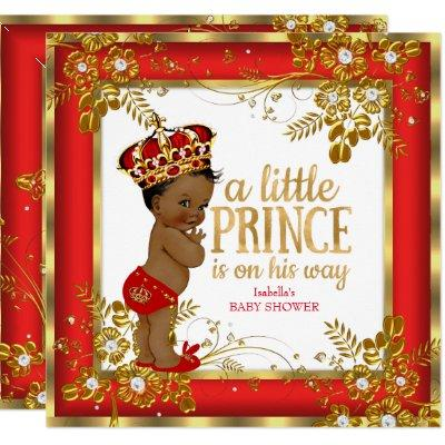 Prince Baby Shower Boy Red Gold White Ethnic Invitation