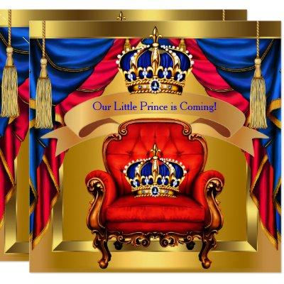 Prince Baby Shower Boy Royal Blue Red Gold Invitation