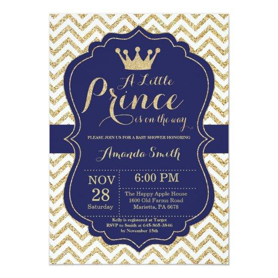 Prince Baby Shower Invitations Navy and Gold