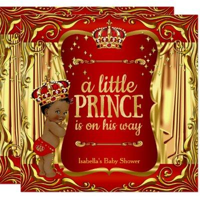 Prince Baby Shower Red Gold African American Invitations