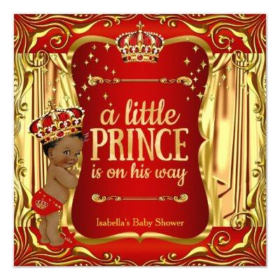 Prince Red Gold African American Invitations