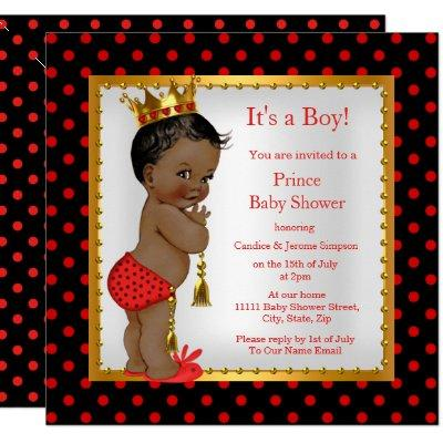 Prince Baby Shower Red Gold Black Boy Ethnic Invitation
