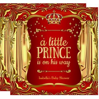 Prince Baby Shower Red Gold Boy Invitations