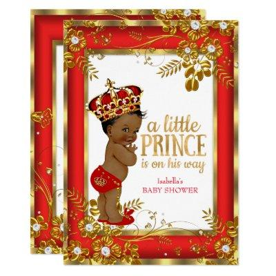Prince Baby Shower Red Gold White Ethnic Invitations